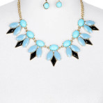 Color Homaica Stone Bib Necklace and Earring Set