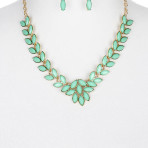 Homaica Stone Olive Branch Bib Necklace and Earring Set