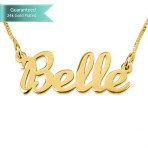 24K Gold Plated Name Necklace Hand Written Customizable Personalized Fine Jewelry