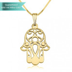 14K Gold Hamsa Necklace Fine Jewelry