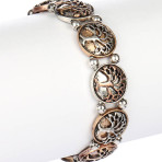 AGED FINISH METAL TREE OF LIFE STRETCH BRACELET