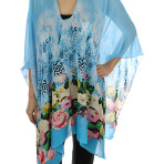 Floral and Animal Print Poncho Scarf