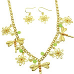 16 inch Dragonfly Flower Necklace and Earring Set A Choice of 3 Colors
