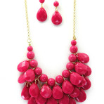 16 inch Teardrop Multi Layer Necklace and Earring Set A Choice of Nine Colors