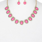 Color Homaica Stone Sunburst Bib Necklace and Earring Set