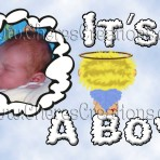 Angel It's A Boy Baby Boy Announcement 7x 5 inches