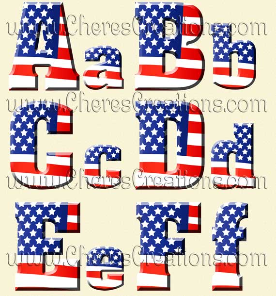 May The Fourth Be With You Lettering: Red White & Blue Flag Digital Alphabet Free Numbers
